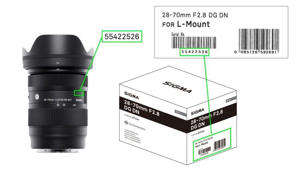 Serijska številka SIGMA 28-70mm F2.8 DG DN Contemporary